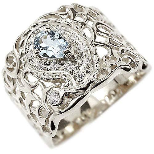 [アトラス]Atrus リング レディース sv925 スターリングシルバー ペイズリー ダイヤモンド アクアマリン 透かし 幅広 エンゲージリング 指輪 11号