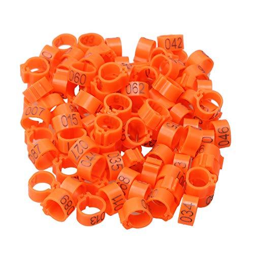 RDEXP 9,5 mm orange Kunststoff nummeriert Clip auf Bein Ringe Clip Band für Küken, Hühner, Tauben, Geflügel 100 Stück