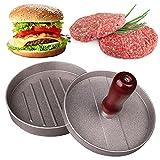 Bestomrogh Prensa para hamburguesas, de aluminio para hamburguesas con mango de madera, molde antiadherente para hamburguesas de queso y carne rellena