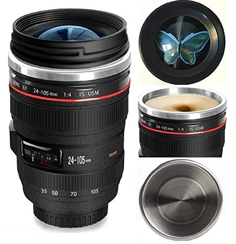 Camera Lens Coffee Mug,Stainless Steel Travel Lens Mugs,Food Grade Materials,12oz,Photography Mugs,Tumbler Insulated Cups for Hot and Cold Drinks,Camera Lens Cup for All Ages,Idea Gift for Xmas