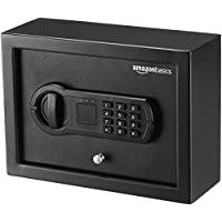 AmazonBasics Small Slim Desk Drawer Security Safe Lock Box