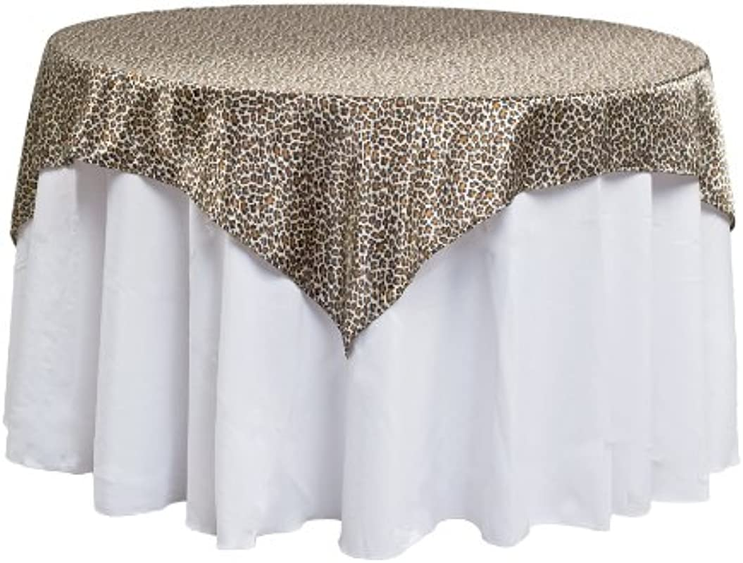 LinenTablecloth Square Satin Overlay 60 Inch Leopard Print