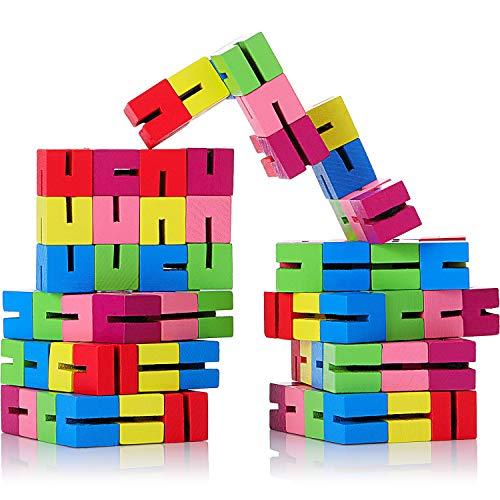 Boao 9 Pieces Mini Fidget Puzzles Wooden Flexible Puzzles Stretchable Fidget Puzzles Wood Twist and Lock Blocks for Fidget or Party Favors