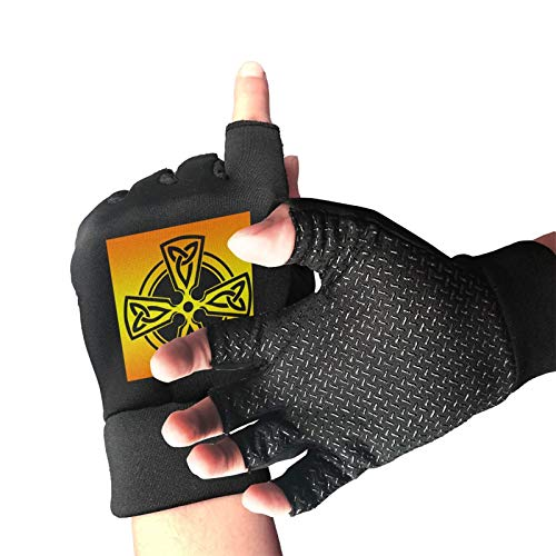 Celtic Cross Knot Irish Shield Warrior Workout Gloves Half Finger Anti-Skid Gloves with Wrist Support for Fitness Exercise Training and Bodybuilding for Men & Women