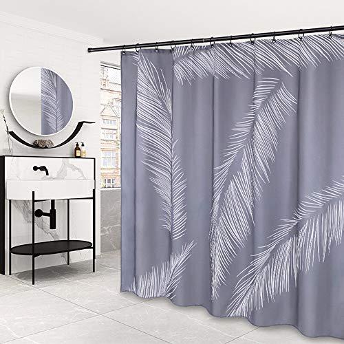 Peng Sounder-hm Duschvorhänge, Wahsable Duschvorhang, schimmelresistent, modern, graue Feder, für Badezimmer, grau, 150x200cm