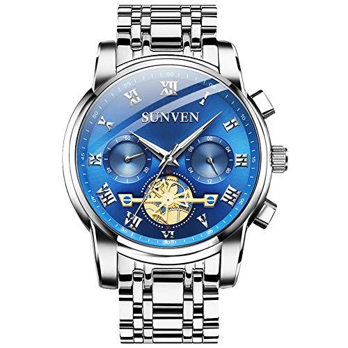 Relojes SUNVEN para Hombre Cuarzo Resistente al Agua - Reloj de Pulsera empresarial de Zafiro de Acero Inoxidable Pantallas multifunción Manos Luminosas (Azul)