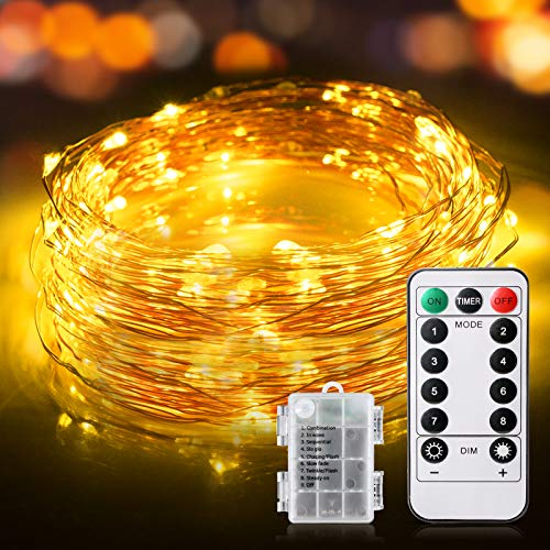 Guirlande Lumineuse, 12M 120 LED Guirlande Lumineuse IP65 Etanche Fairy Lights interieur et extérieur Decoration pour Chambre Noël Mariage Soirée Maison Jardin - 3 Piles AA (Blanc Chaud)