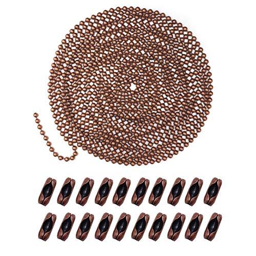 Extensión de cadena de ventilador de metal, conector de cadena de ventilador de techo, 3,2 mm de diámetro, 16 pies de largo con 20 conectores