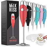 Milk Boss マイティミルク泡立て器ミキサー - コーヒー泡立て器 電動ハンドヘルドフォームメーカー & 泡立て器 コーヒー用 - ラテ 抹茶などに 16ピースステンシル付き