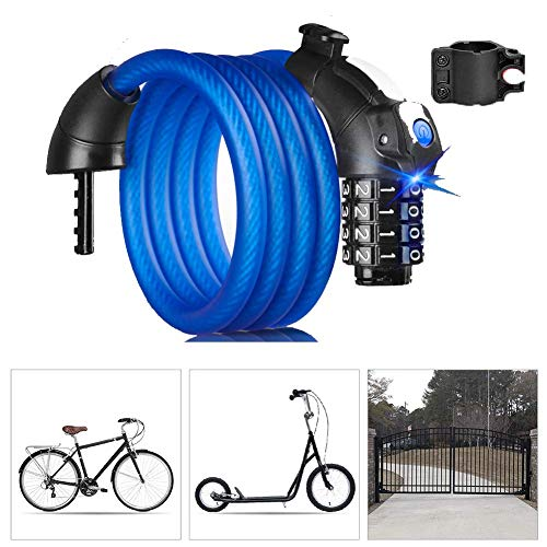 SGSG Bike Lock Combination 4 Digit,Anti-Theft Locks with Mounting Bracket High Quanlity Heavy Duty Bicycle Bike Chain Lock,Security Burglar Best for Outdoor Bike and Gate Fence Garage