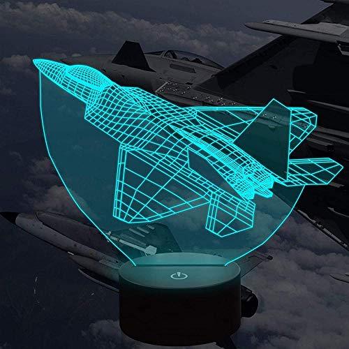 Lámpara de ilusión 3D de 16 colores LED de luz nocturna con control táctil, regalos de Navidad de cumpleaños para niños aviones