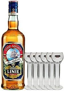 Linie Aquavit Norwegische Spezialität 0,7 Liter  6 Gläser 2cl mit Aufschrift