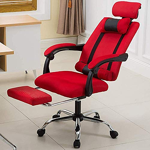 WYL Sedia da Ufficio ergonomica/reclinabile/Poltrona Girevole: Schienale Alto con poggiapiedi, Multi-Colore Opzionale (Size : Red)