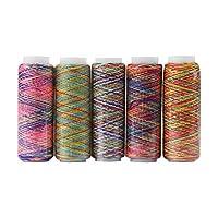 レーヨン糸 ミシン用糸 カラー糸 刺しゅう糸 手縫い飾 5色セット各110M
