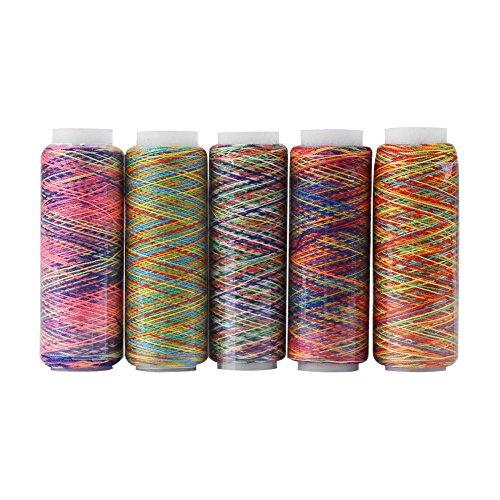 banapo Kleidungszubehör, Nähgarn, Quiltgarn, Stickgarn, mehrfarbiges Farbverlaufshaus für Nähmaschine