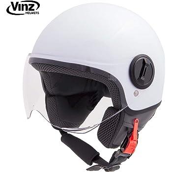 in Gr Roller Jet Helm mit Streifen ECE zertifiziert Vinz Rollerhelm Jethelm Fashionhelm Motorradhelm mit Visier XS-XL S, Schwarz Italy