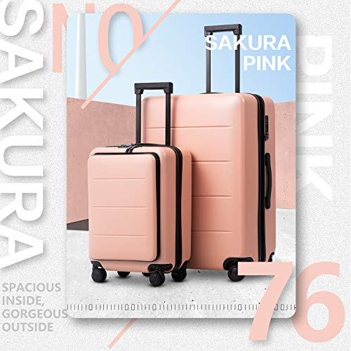 COOLIFE Luggage Suitcase Piece Set Carry On ABS+PC Spinner Trolley with pocket Compartmnet Weekend Bag (Sakura pink, 2-piece Set)