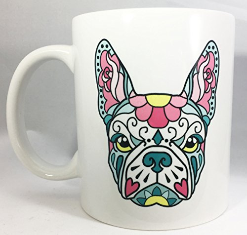 French Bulldog Frenchie Teal and Pink Sugar Skull Tattoo Breed Dog Lover Ceramic Coffee Tea Mug