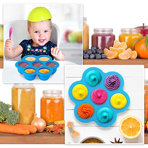 KATELUO Molde para Helados, 7 Cavidades DIY Mini Molde de Silicona para Paletas de Helado con Palitos de Plástico Coloridos, para Alimentos para Bebés, Hielo, Chocolate, Paletas de Hielo, Helado