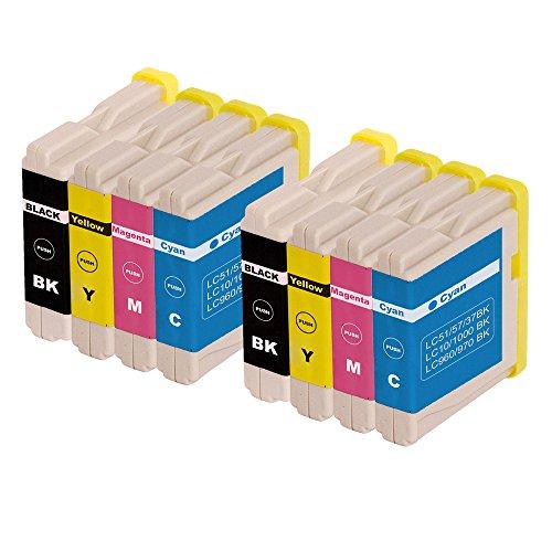 8 kompatible Patronen Ersatz für Brother LC970 LC1000/DCP (2 x LC 970BK - 2 x LC 970 C - 2 x LC 970Y - 2 x LC 970 M) for Brother DCP-130 C DCP-135 C DCP-150 C DCP-153 C DCP-157 pritners etc.