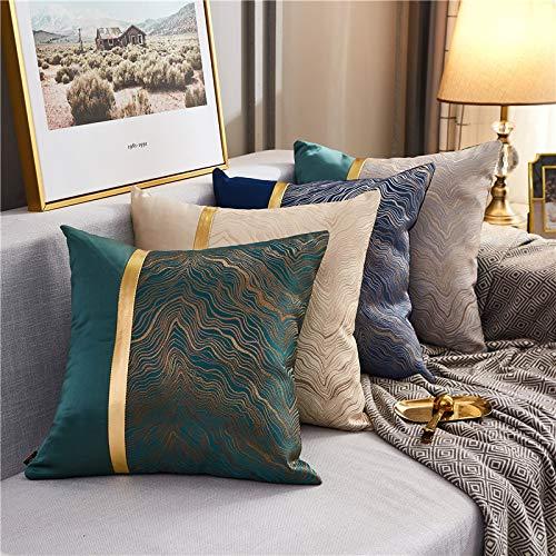Alihoo Kissenbezug 45 x 45 cm - Luxuskissen Hüllen Streifenstickerei Kissenbezüge Zierkissenbezüge Abdeckung für Couch Wohnzimmer Schlafzimmer (4er Goldbesatz)