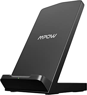 Mpow Wireless Charger, 10W Wireless Charging Stand, Qi-Certified, 7.5W Compatible iPhone 11 Pro Max XR XS Max XS X 8 8Plus, Galaxy S10 S9 S8, Note 10 Note 9, LG V30 V40, Google Pixel 3 (No Adapter)