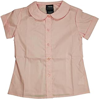 cd4ee499d84904 French Toast - Toddler Girls Short Sleeve Peter Pan Blouse, Pink 33141-4T