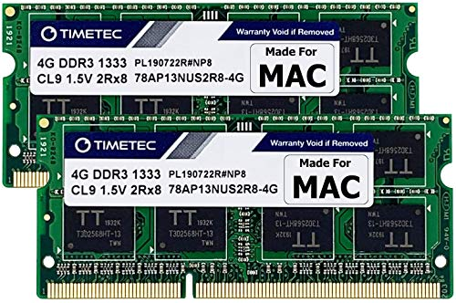 Timetec Hynix IC Compatible with Apple 8GB Kit (2x4GB) DDR3 1333MHz PC3-10600 SODIMM Memory Upgrade For Mac 8GB Kit (2x4GB)