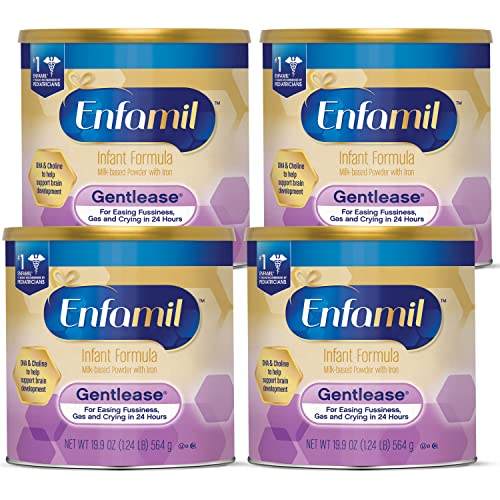 Enfamil Gentlease Baby Formula, Reduces Fussiness, Crying, Gas and Spit-up in 24 hours, DHA & Choline to support Brain development, Powder Can, 19.9 Oz (Pack of 4) Total 79.6 Oz