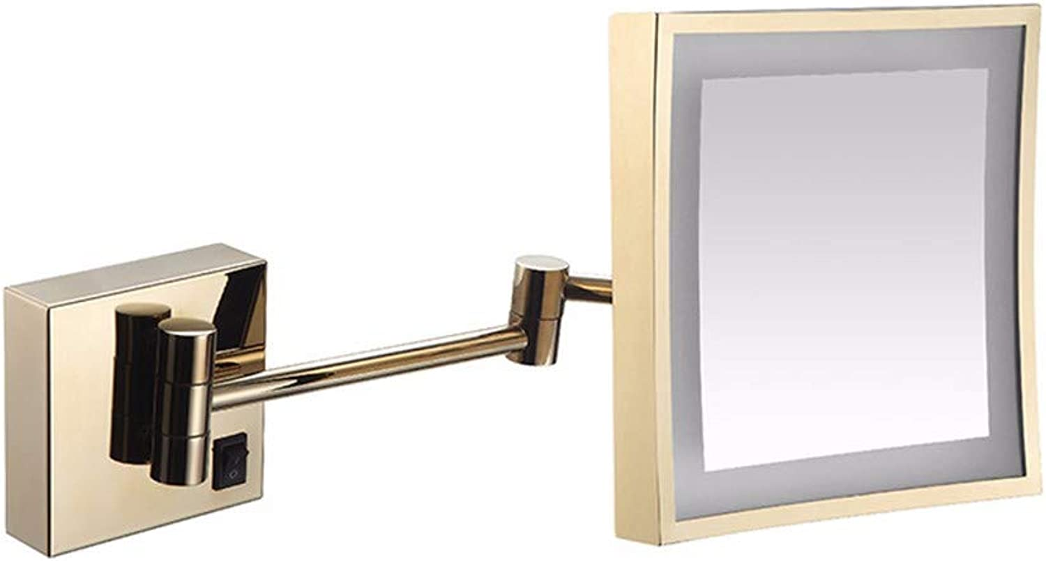 Wall Mounted Mirrors Makeup Shaving Mirror LED Lighted Bathroom Mirror for Hotel Vanity with Adjustable Extendable Square 8inch 3X Magnification Surface Chrome,D