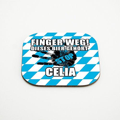 Untersetzer für Gläser mit Namen Celia und schönem Motiv - Finger weg! Dieses Bier gehört Celia