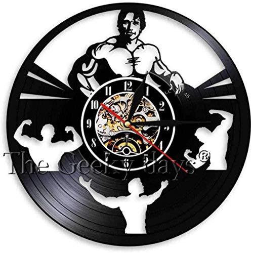 ZZLLL Reloj de Pared de Vinilo Reloj de Pared con Disco de Vinilo decoración del hogar led música Gimnasio Ejercicio con Mancuernas lámpara de Pared Regalo Retro Hombre Mujer Dibujos Animados