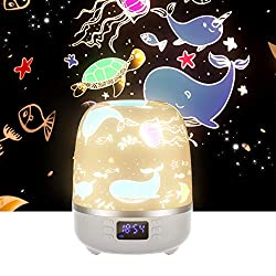 Night Light for Kids, Star Projector Night Light Bluetooth Speaker 360 Degree Rotation Multicolor Changing Music Nursery Light with 6 Optional Films for Kids, Adults, Alarm Clock/TF Card/AUX Support