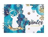 ミクストメディアスケッチパッドアートスケッチブックリサイクルドローイングブックスケッチブックハードカバーアシッドフリードローイング、ペインティング-冬の雪鹿