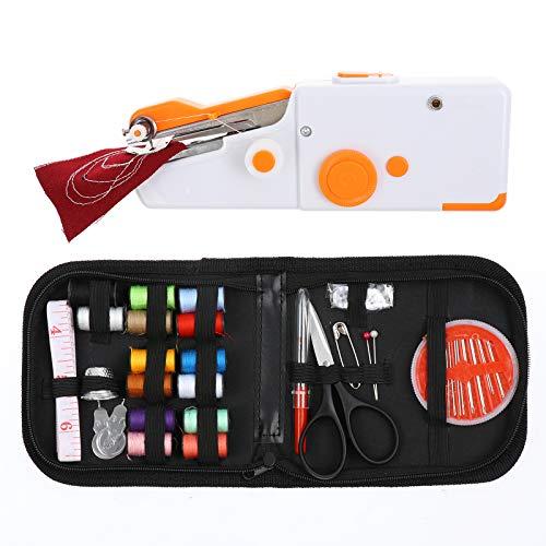 Mini máquina de coser de mano portátil, mini máquina de coser eléctrica, máquina de coser doméstica, herramienta de mano con 12 puntadas integradas, 2 velocidades y pedal de pie para principiantes.