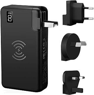 WangLx Ele Bateria Externa Wireless 10000mAh Cargador Inalámbrico Cargador Móvil Suministro Energía 18 W, Puertos QC 3.0 y Dual USB Compatible con iPhone XR/XS/X/8/8 Plus y Todos Móviles con QI