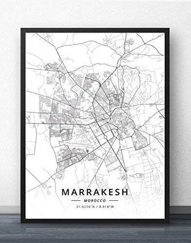 Leinwand Bild,Marokko Marrakesch Stadtplan Einfache Wandkunst Schwarz Weiß Pop Poster Minimalistische Malerei Modular Office Living Personalisierte Kultur Tinte Raumdekoration, 80 Cm X 110 Cm / 31,4