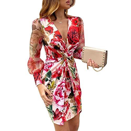 Frecoccialo Vestito Donna Manica Lunga Autunno/Primavera Abito Donna Leopardato/Floreale Vestito Donna Sexy Scollo a V Manica Lunga Vestito Donna Elegante Abito Donna A-Line S-2XL(Rosso, L)