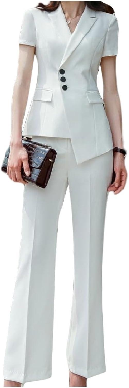CoolredWomen Lapel Flare Short Sleeve Blazer Jacket+Pants 2 Piece Set Suit