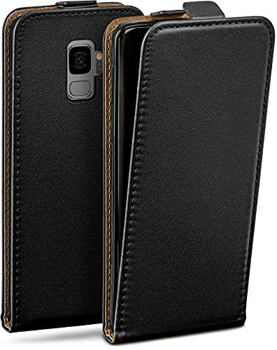 moex Flip Hülle für Samsung Galaxy S9 Hülle klappbar, 360 Grad R&um Komplett-Schutz, Klapphülle aus Vegan Leder, Handytasche mit vertikaler Klappe, magnetisch - Schwarz