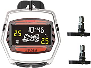 Dailyfun Motorc TPMS Wireless Tire Pressure Monitoring System, Auto Tyre Alarm System Waterproof with 2 External Sensors Digital LCD Display, for Two-Wheeled Motorcycle