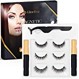 Gleebee Reusable Magnetic Eyelashes,Magnetic Eyeliner and Lashes Kit,2020 Upgraded 3D Waterproof Magnetic Eyeliner and Multi Styles Lashes-No Glue, Natural Look