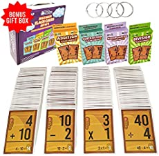 Math Flash Cards Set For Kids - Multiplication Addition Subtraction and Division Number FlashCards - Educational Learning Kindergarten Homeschool Supplies Materials 1st 2nd 3rd 4th 5th & 6th Grade