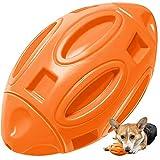 Ballon de Rugby Chien, Speyang Jouet Couineur à Mâcher pour Chien Agressif Balle à Mâcher en Caoutchouc avec Son de Couinement, Presque Indestructible, pour Chiens de Moyenne et Grande Taille (Orange)