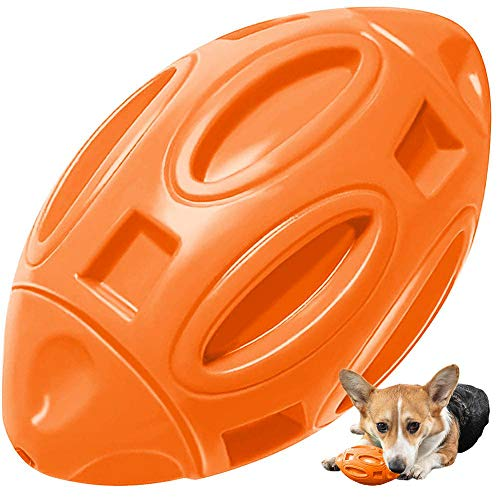 Pelota de Rugby Perros, Speyang Juguetes para Perros para Masticadores Agresivos, Juguetes Chirriantes Mascota Perro, Entrenamiento Interactivo, Duradera Goma Pelota para Masticar para Perros(Naranja)