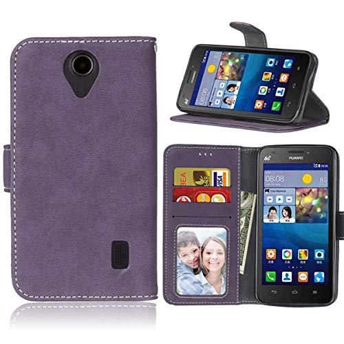 Sangrl Lederhülle Schutzhülle Für Huawei Ascend Y635, PU-Leder Klassisches Design Wallet Handyhülle, Mit Halterungsfunktion Kartenfächer Flip Hülle Lila