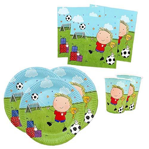 Papierdrachen Juego de fiesta con 36 piezas, diseño de fútbol americano, vajilla de fiesta con vasos, servilletas y platos de cartón para fiestas infantiles