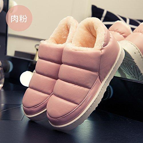 WXMTXLM Zapatillas de algodón para mujer, bolsa de invierno con casa, interior cálido, impermeable, antideslizante, gruesa parte inferior, piel, piel, zapatillas, hombres, 3, harina de carne