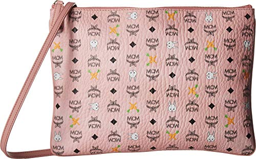 From work to play, amp up your style with the MCM® Medium Rabbit Pouch. Zipper pouch made of strong coated canvas with genuine leather trim. Top zip closure. Adjustable crossbody shoulder strap with removable option for desired carry. Signature brand...