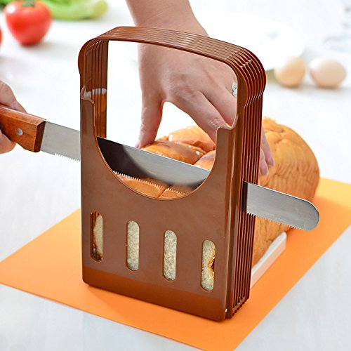 Bread Slicer, Loaf Cutting Guide Board, Adjustable & Foldable Sandwich Toast Bread Slicer, Plastic Homemade Bread Slicer, Coffee